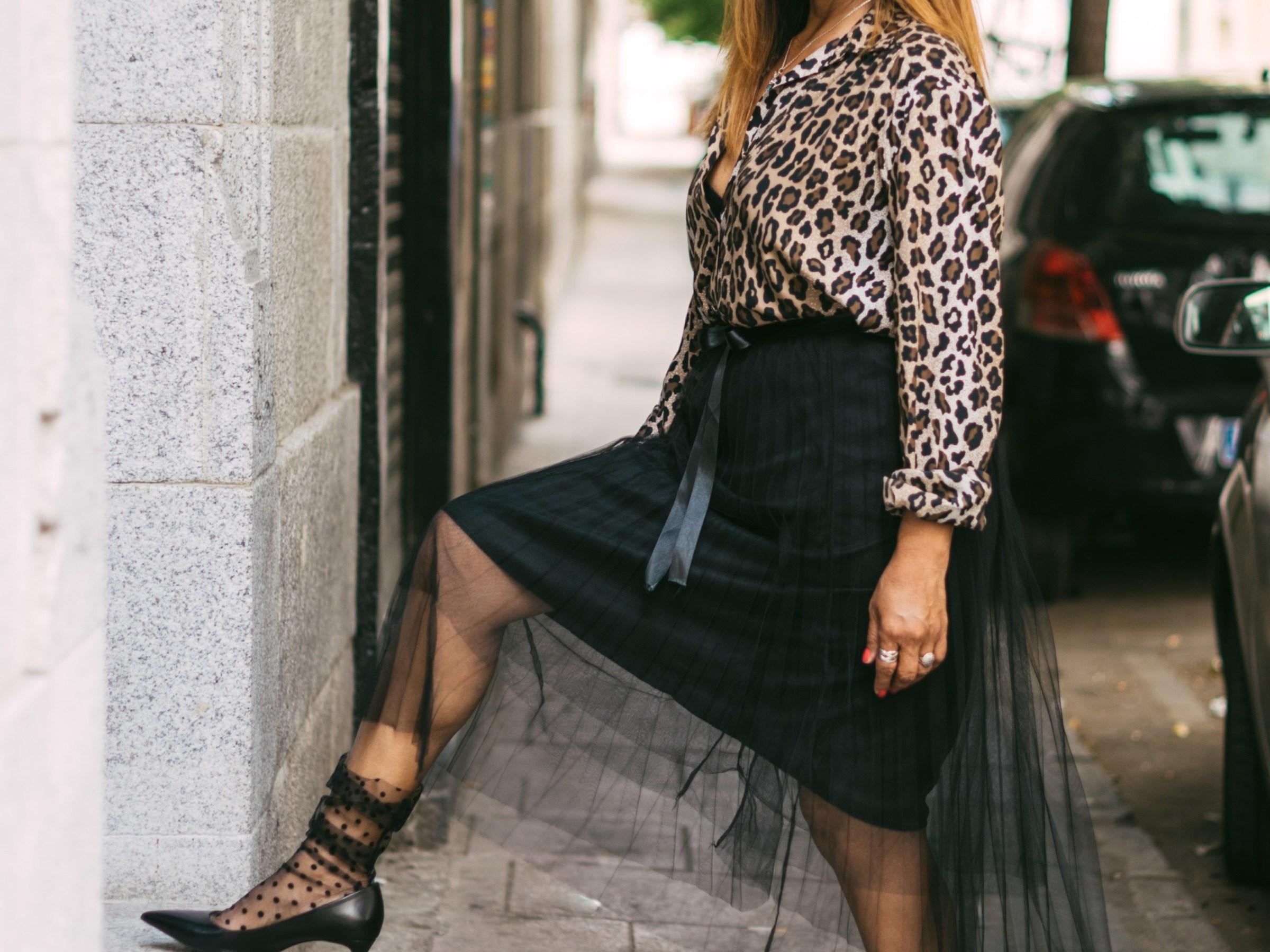 Falda de tul midi