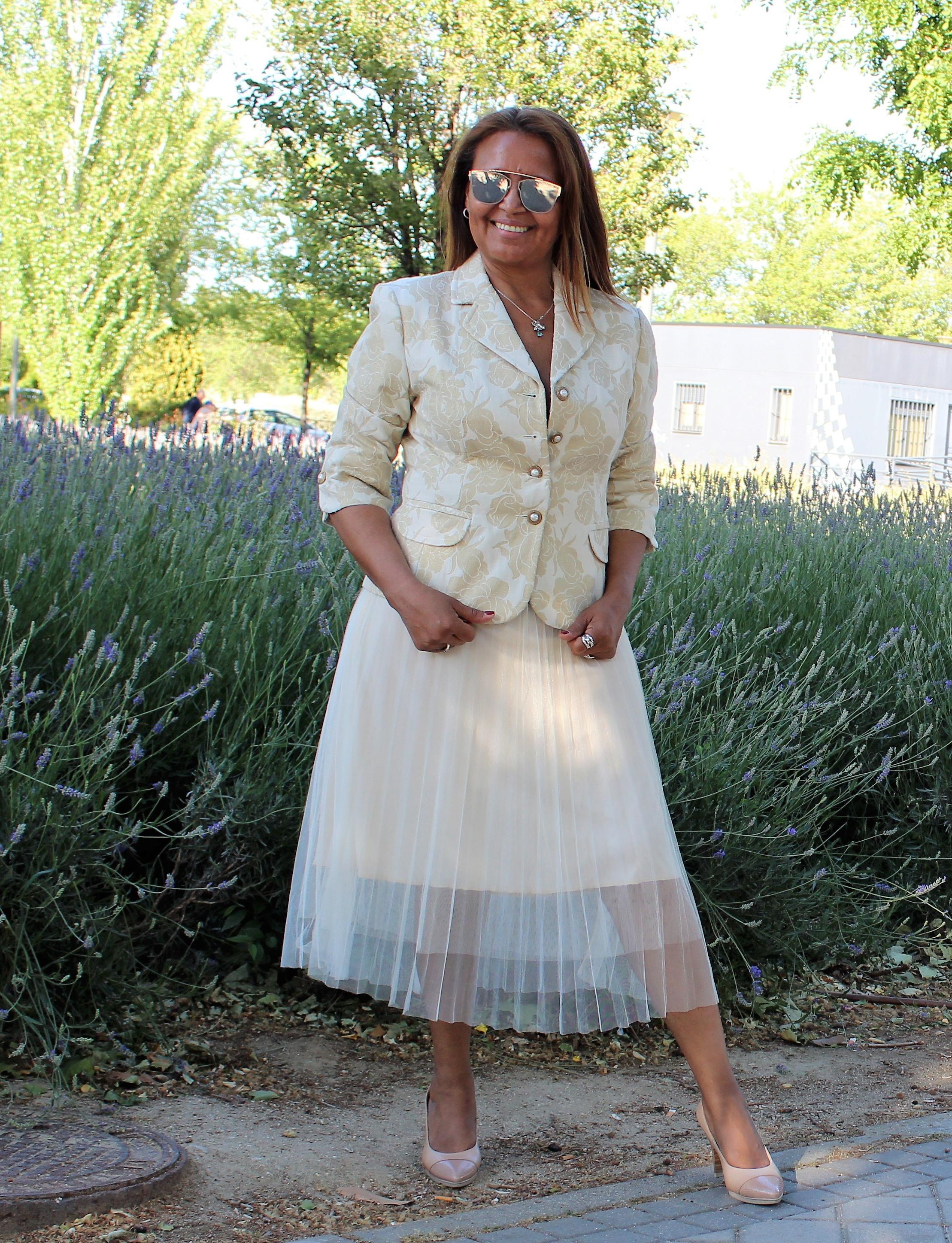 Falda de tul plisada