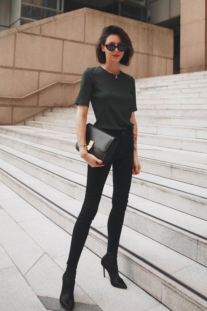 Total look negro minimalista