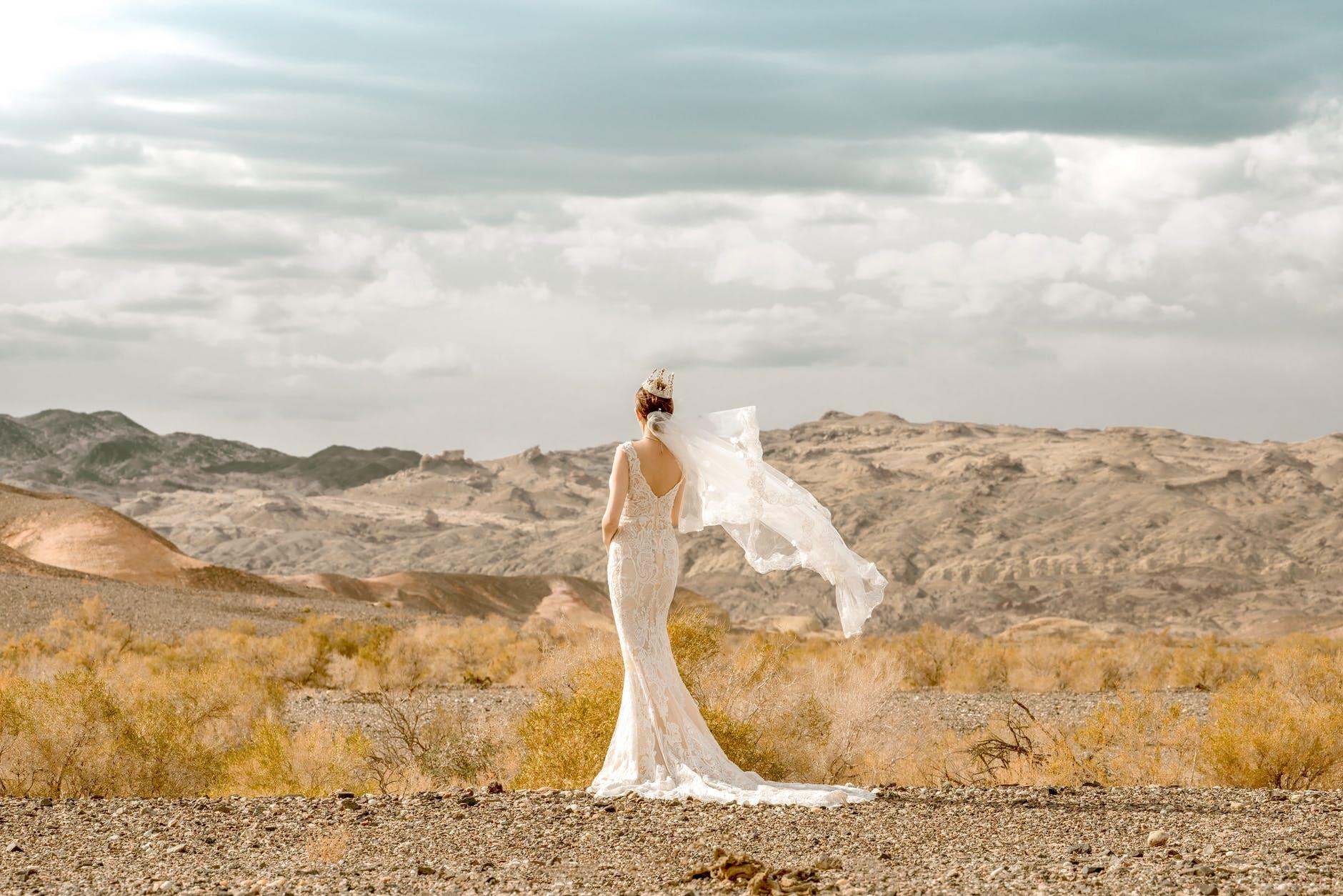 bride in wedding dress standing in wilderness